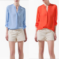 Dresses new fashion 2013 womens tops for summer  ladies full sleeve solid chiffon t shirts women plus size shirts blouses