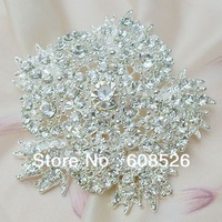 free shipping 1 piece large Silver Plated Rhinestone Crystal Flower Pin Brooch for Wedding Invitation, item no.: BH7372