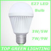 Free Shipping 2 x Energy Saving E27 LED Light Bulb 3W 5W 7W 9W AC 85-265V LED E27 Bombilla Warm White/Cool White