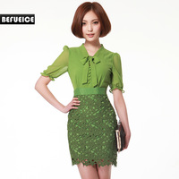 Befueice 2013 lace patchwork short-sleeve chiffon one-piece dress qa33227