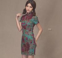 2013 new hot sale fashion women chinese dresses 50%linen vintage sheath stand short sleeve mni print dress free shipping