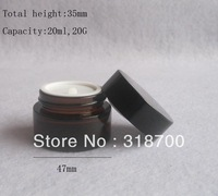 Free shipping - 20/lot 20g amber glass jar, 20cc amber cream bottle, glass container,cosmetic packaging