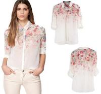 Blusas Femininas 2014 New Spring Autumn Women Chiffon Blouse Shirts Printed Floral Retro Vintage Long Sleeve Shirt Tops 110346