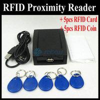 HOT! EM4100 RFID Card Proximity Reader USB 125KHz + 5 Cards + 5 Key Tags - Satcus