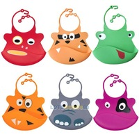 Washable Silicone Infant Feeding Baby Kid Bib Fun Characters Waterproof