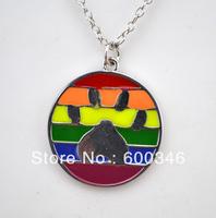 Free shipping 10pcs a lot paw print disc enamel necklace