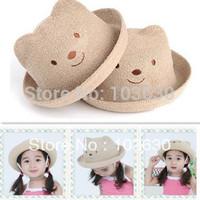 Free shipping Hat wholesale children's sun hat basin of boys and girls baby bear hat straw bear hat shape