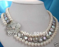 "18 ""real pearl & coin pearl necklace and clasp Fashion jewelry"