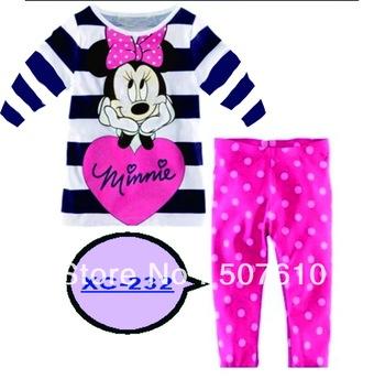 Children Wide stripe Minnie Pyjamas Baby long sleeves sleepwear Baby pajamas Children Pyjamas, Children Sleepwear 6sets/lot
