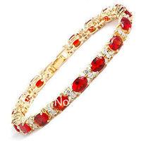 "Fine Beautiful 7.5"" Red Crystal Bracelet AAA Fashion jewelry"