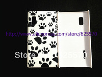 Lovely Design Pet Dog Cat Paw Prints Style IMD Hard back Case for LG OPTIMUS L5, 1pc/lot By china post airmail