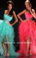 2015 Stock New Blue/Pink Hi-Lo Beaded Organza Wedding Prom Dresses Bridal Gown/Evening Dresses ew discount evening dress