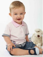 Retail,Baby Boys Fashion (Pink Shirt+Jeans Shorts) 2pcs Suit,Baby Boys Summer Clothes,Freeshipping (in stock)