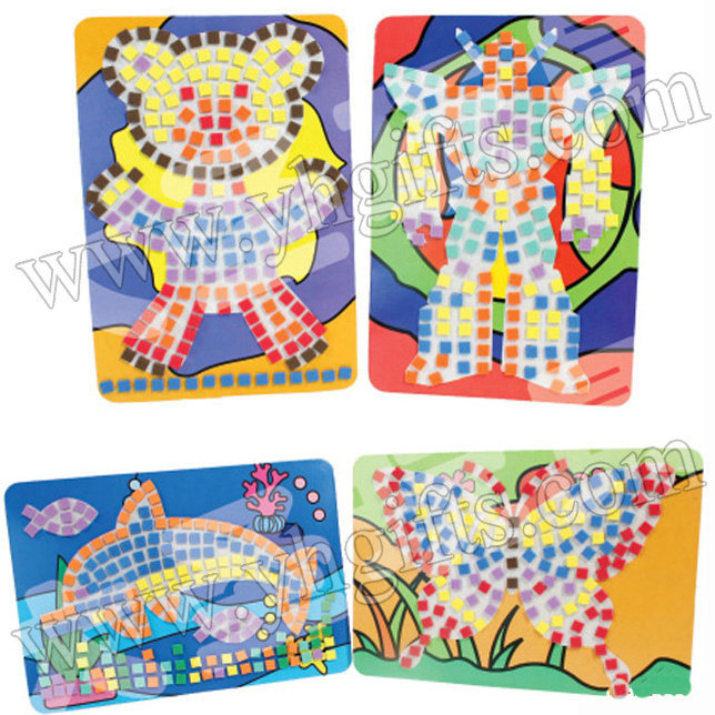 20pcs/lot,Diy mosaic stand craft kits,Kids toys,Crafts wholesale,Mosaic art,Home decoration,DIY toys,Mixed design,20.3x14cm(China (Mainland))