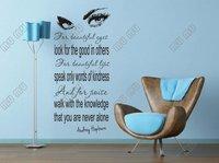 "Large Audrey Hepburn's Eyes Vinyl Wall Decal  Bedroom Living room Art Decor  Bar SalonOrnament Wall Tattoo 22.5""*51.5"" Black"