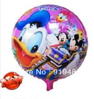50PCS\LOT 18-inch Round Cartoon Donald Duck Foil Balloons Graduation Decoration Balloons Kids Inflatables Toys
