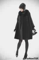 2013 fox fur collar woolen coat bat black jacket,XXXXL 5XL overcoat,plus size women clothing wool outerwear Hot Sale