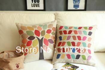 45cm Square Vintage Retro Colorful leaf  Linen Cushion Cover Home decor Zip Openner 2pcs/lot