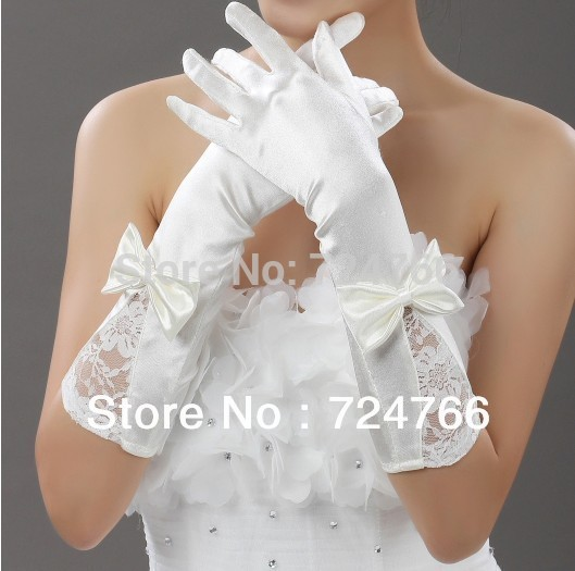 10 pairs free shipping wedding gloves, satin bow bridal gloves with finger free delivery(China (Mainland))