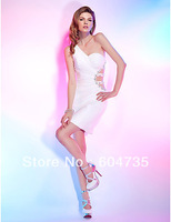 Gorgeous White Chiffon One-Shoulder Mini Party Dresses Cocktail Dress Evening Dress Prom Dress Custom SZ 2-10 12-20 QP606101