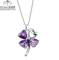 100% pure 925 sterling silver platinum pendant amethyst clover heart necklace wedding jewelry GSN046