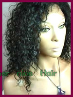 Free shipping Natural black Luxury short curly Indian remy human hair lace front wig for wigs for African american