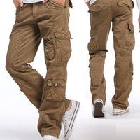 Fashion 2013 casual men's cargo pants wholesale & retail mens pocket design style cargo Multi pocket pants outdoor working pant