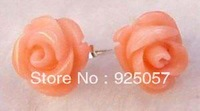 Charming Pink Sea Coral Flower Earring  Fashion jewelry