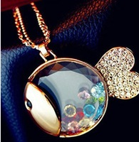 Min Order 10$ Free Shipping 2013 Cute Fish Crystal Long Sweater Pendants Necklaces Gift Fashion Jewelry For Women MJ0125