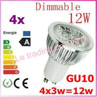 4pcs Dimmable GU10 4X3W 12W 4-CREE LEDS Led Lamp Spotlight 85V-265V Led Light downlight High Power free shipping