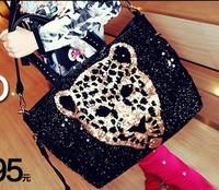 Free shipping Leopard head women's 2013 paillette handbag motorcycle punk leopard print one shoulder bags messenger big bag