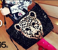 Leopard head women's 2013 paillette handbag motorcycle punk leopard print one shoulder handbag messenger bag