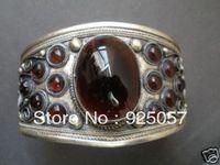 Tibet silver inlay amethyst bracelet Fashion jewelry