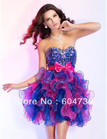 Gorgeous Blue Organza Strapless Beads Mini Party Dresses Cocktail Dress Evening Dress Prom Dress Custom SZ 2-10 12-20 QP606113