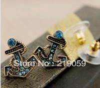 Free Shipping Mixed Order Over $10 retro navy blue anchor stud earrings with gem stone