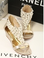 Fashion bohemia pearl beaded sandals women's wedges shoes back zipper flip-flop female sandals