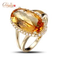 Wholesale Jewelry 5.03ct Yellow Citrine Gem Diamond Engagement Ring, Stunning