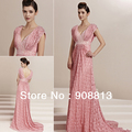 Free Shipping Sheath V-neck Long Train Sexy Elegant Lace Party Dress For Women 30123