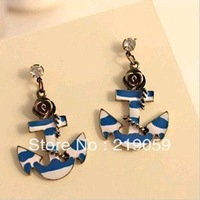 Free Shipping Mixed Order Over $10 fashion Blue Marine Anchor Rose flower stud earrings wirth crystal jewelry