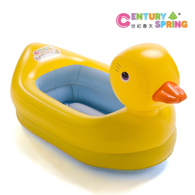 Baño De Regadera En Recien Nacido:Inflatable Baby Bath Tub Yellow