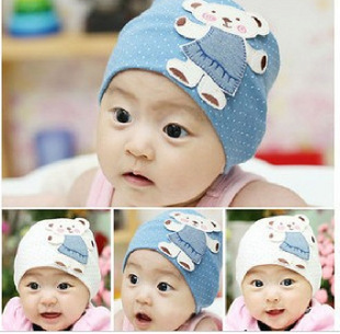 New arrival!Free shipping! cartoon bear applique child pullover cotton cap thermal infant hat for 3-18 month baby