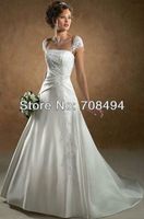 2013 fashion Free shipping custom-made satin appliques spaghetti strap pleated a line elegant sexy wedding dresses-Perfect Gowns