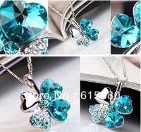 Clover Crystal Necklace & free shipping