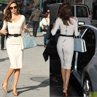 HOT Dropshipping 2013 New Fashion spring Victoria Beckham women cotton Dresses half sleeves back zipper Pencil Dress white S-XL