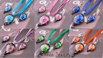 Wholesale Lampwork  Glass Flower Inside Gold Dust Water Drop Pendant Necklace Earring Ribbon Chain Woman Jewelry Sets
