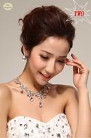 hot sale 2013 fashion bridal married short necklace earring rings bracelets sets twinset wedding jewelry set rhinestone crystal