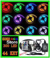 2pcs /lot  RGB led strip SMD 5050  Waterproof  300 Led Strip Light + 44 Keys IR Remote+12V 5A power supply  free shipping
