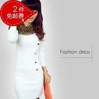 Free Shipping 2014 Autumn Women's Autumn Faux Two Piece Knitted One-Piece Dress Long-Sleeve  762