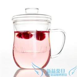 Thickening beauty care three pieces cup heat-resistant glass tea set liner flower tea office cup mug(China (Mainland))