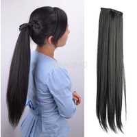 Long Lady Girl Straight Ponytail Wigs Pony Hair Hairpiece Extension Black #gib